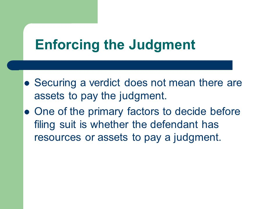 Enforcing the Judgment