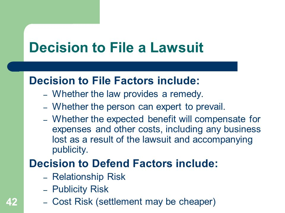 Decision to File a Lawsuit