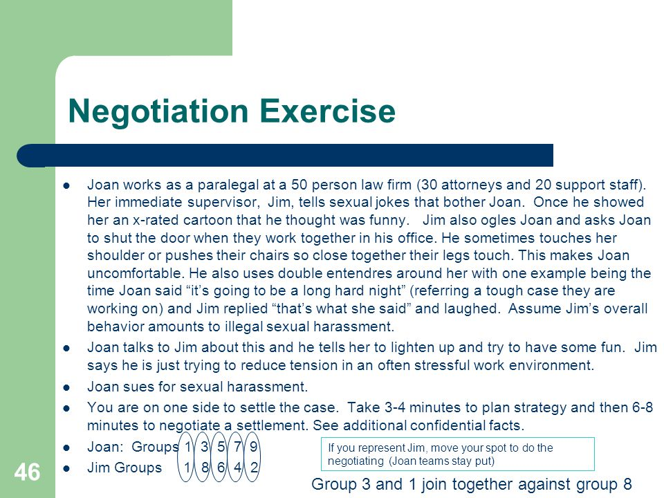 Negotiation Exercise Group 3 and 1 join together against group 8