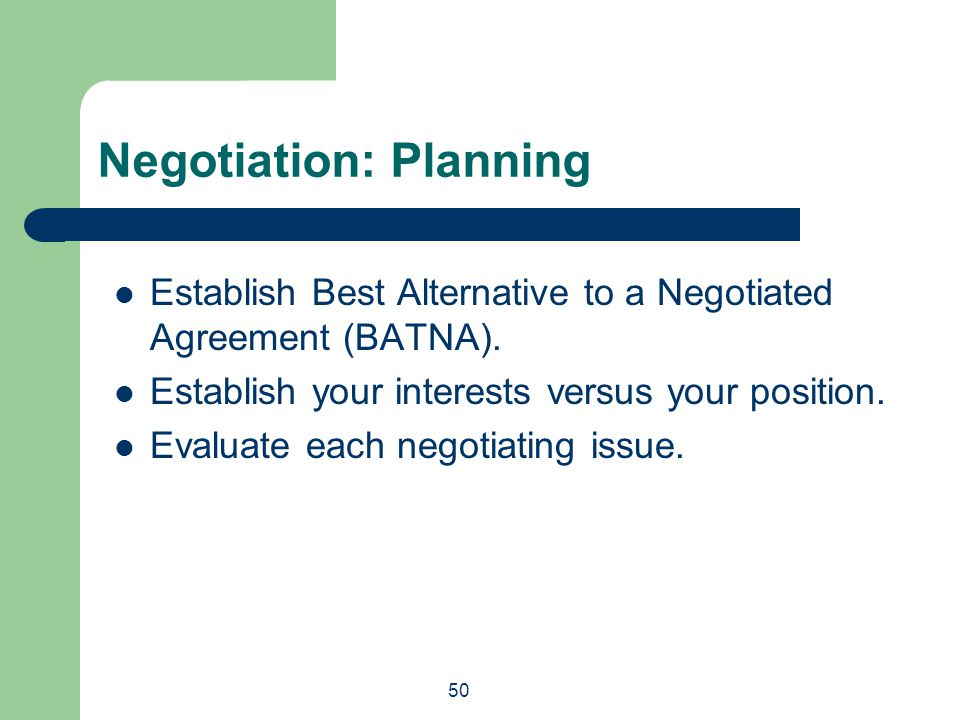 Negotiation: Planning