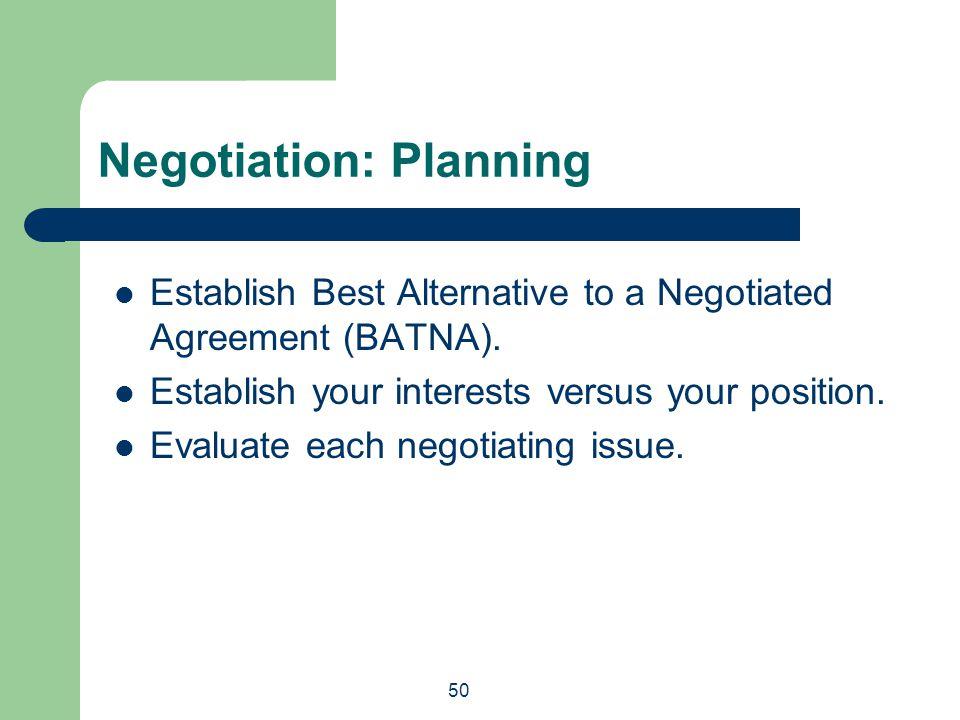 Negotiation: Planning