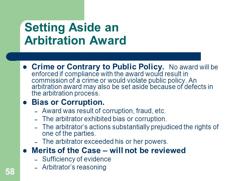 Setting Aside an Arbitration Award