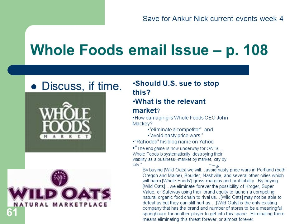 Whole Foods email Issue – p. 108