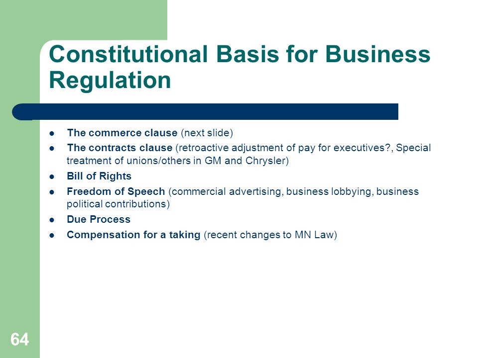Constitutional Basis for Business Regulation