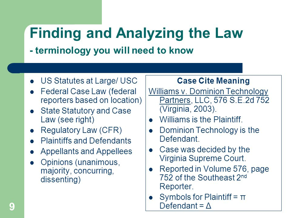 Finding and Analyzing the Law - terminology you will need to know