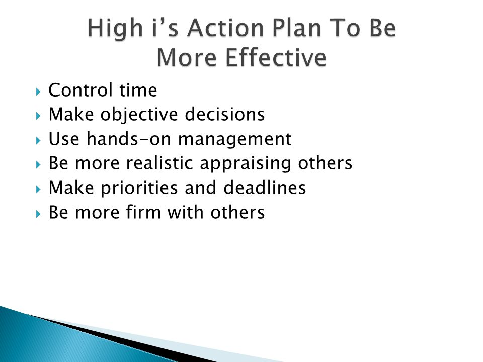 High i's Action Plan To Be More Effective