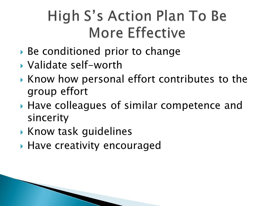 High S's Action Plan To Be More Effective