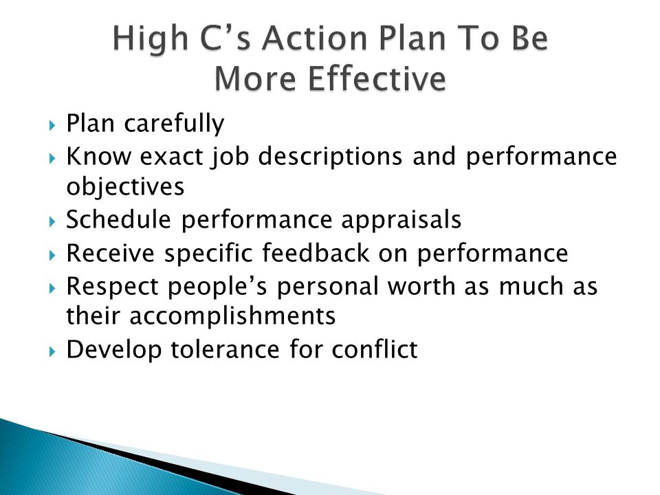 High C's Action Plan To Be More Effective