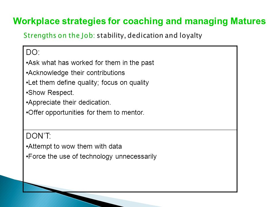 Strengths on the Job: stability, dedication and loyalty
