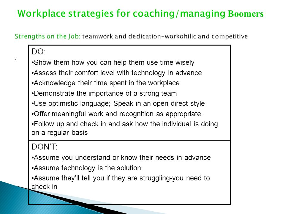 Workplace strategies for coaching/managing Boomers