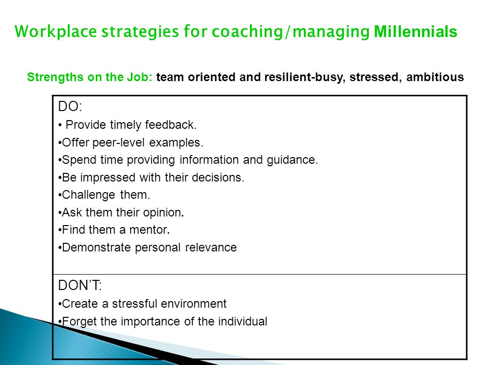 Workplace strategies for coaching/managing Millennials