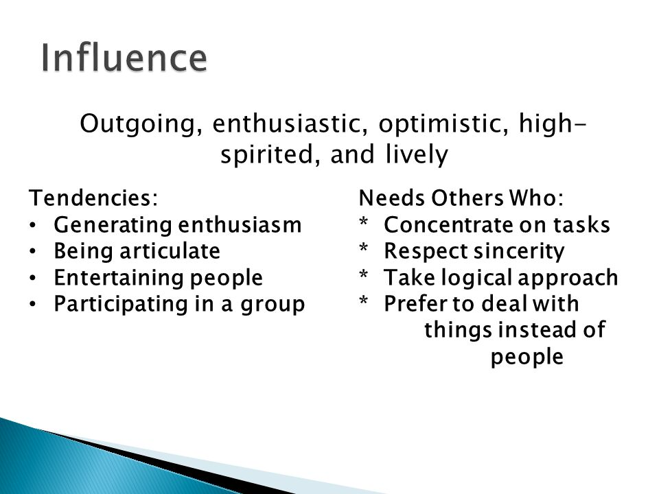 Outgoing, enthusiastic, optimistic, high- spirited, and lively