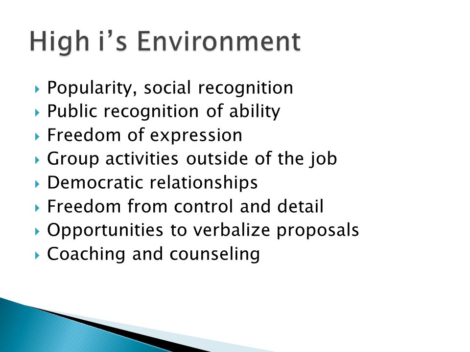 High i's Environment Popularity, social recognition