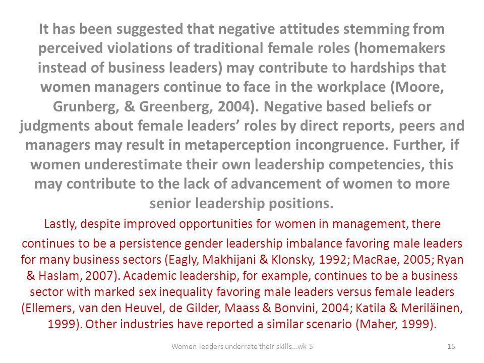 It has been suggested that negative attitudes stemming from perceived violations of traditional female roles (homemakers instead of business leaders) may contribute to hardships that women managers continue to face in the workplace (Moore, Grunberg, & Greenberg, 2004). Negative based beliefs or judgments about female leaders' roles by direct reports, peers and managers may result in metaperception incongruence. Further, if women underestimate their own leadership competencies, this may contribute to the lack of advancement of women to more senior leadership positions.