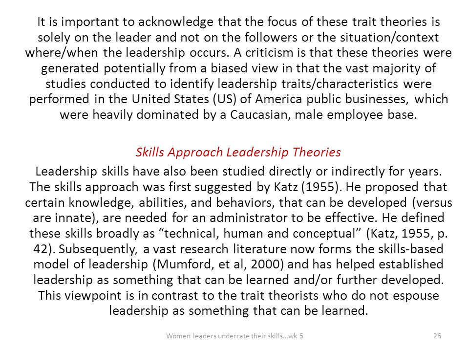 Skills Approach Leadership Theories