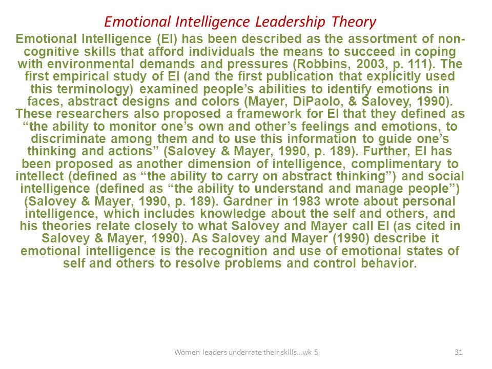 Emotional Intelligence Leadership Theory