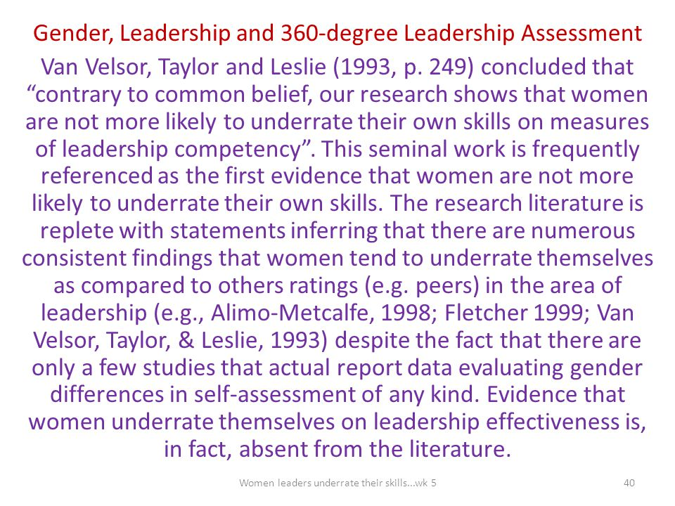 Gender, Leadership and 360-degree Leadership Assessment