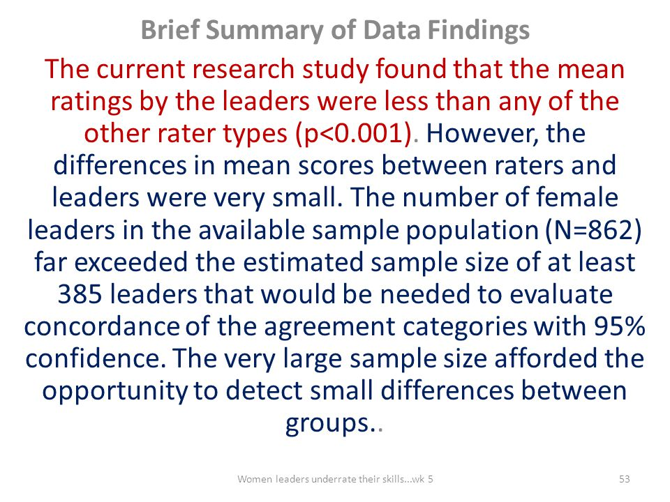 Brief Summary of Data Findings