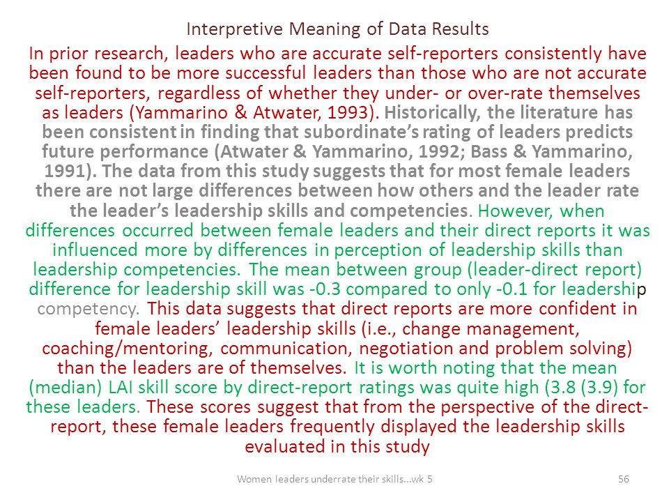 Interpretive Meaning of Data Results