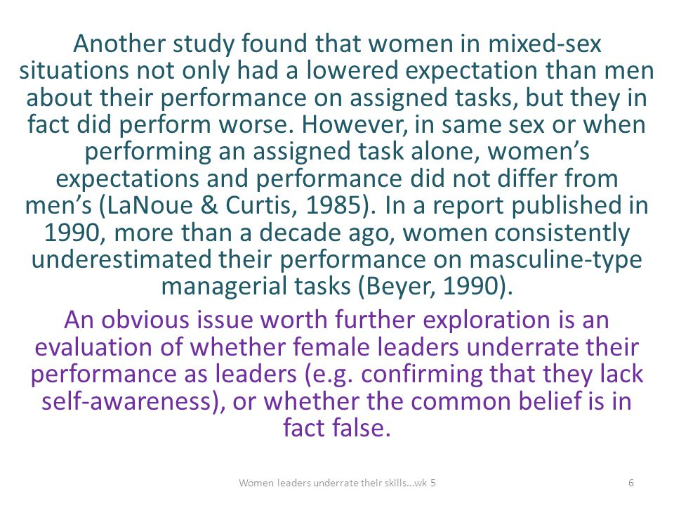 Women leaders underrate their skills...wk 5