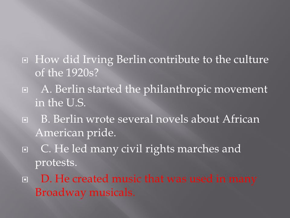 How did Irving Berlin contribute to the culture of the 1920s