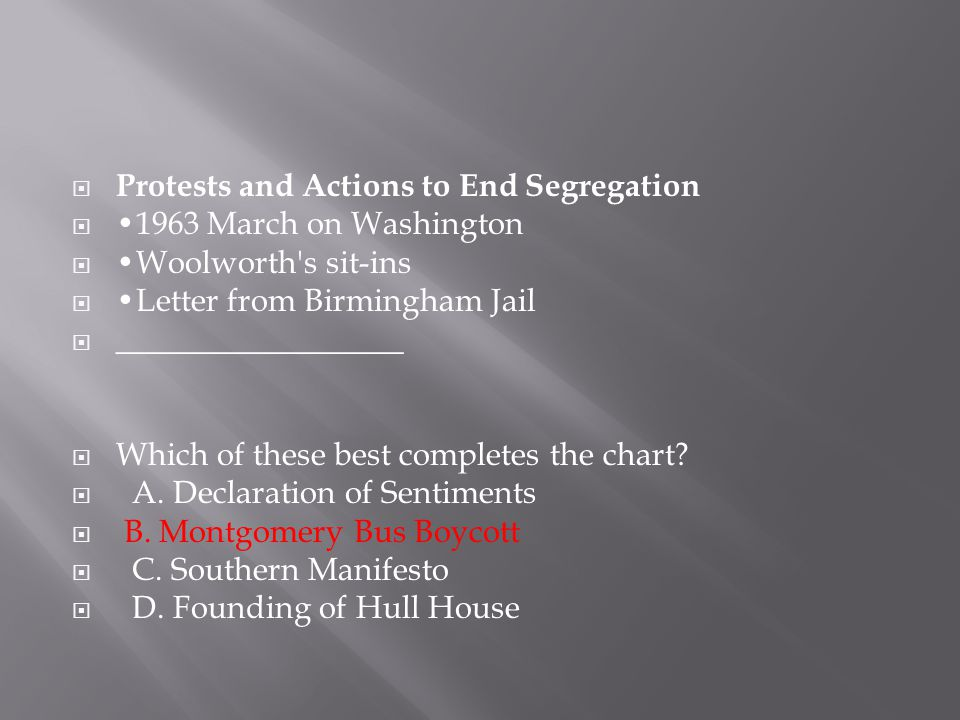 Protests and Actions to End Segregation