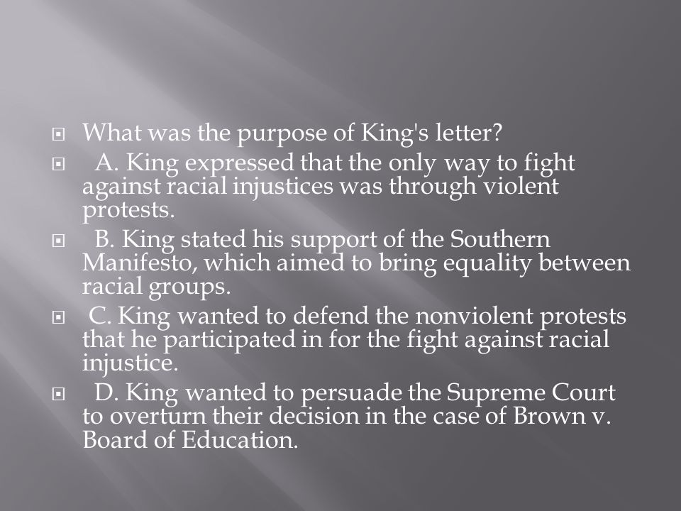 What was the purpose of King s letter