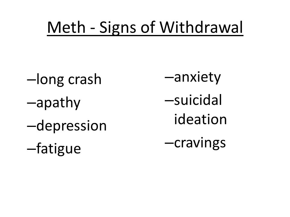 Meth - Signs of Withdrawal