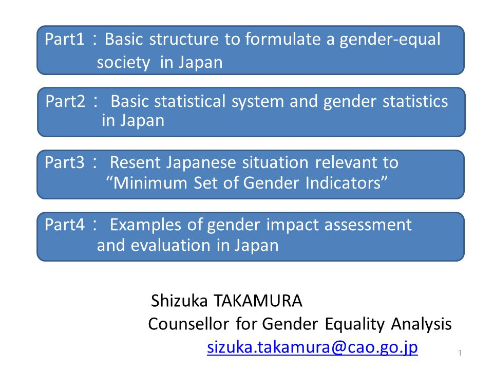Shizuka TAKAMURA Counsellor for Gender Equality Analysis. sizuka.takamura@cao.go.jp. Part1:Basic structure to formulate a gender-equal.
