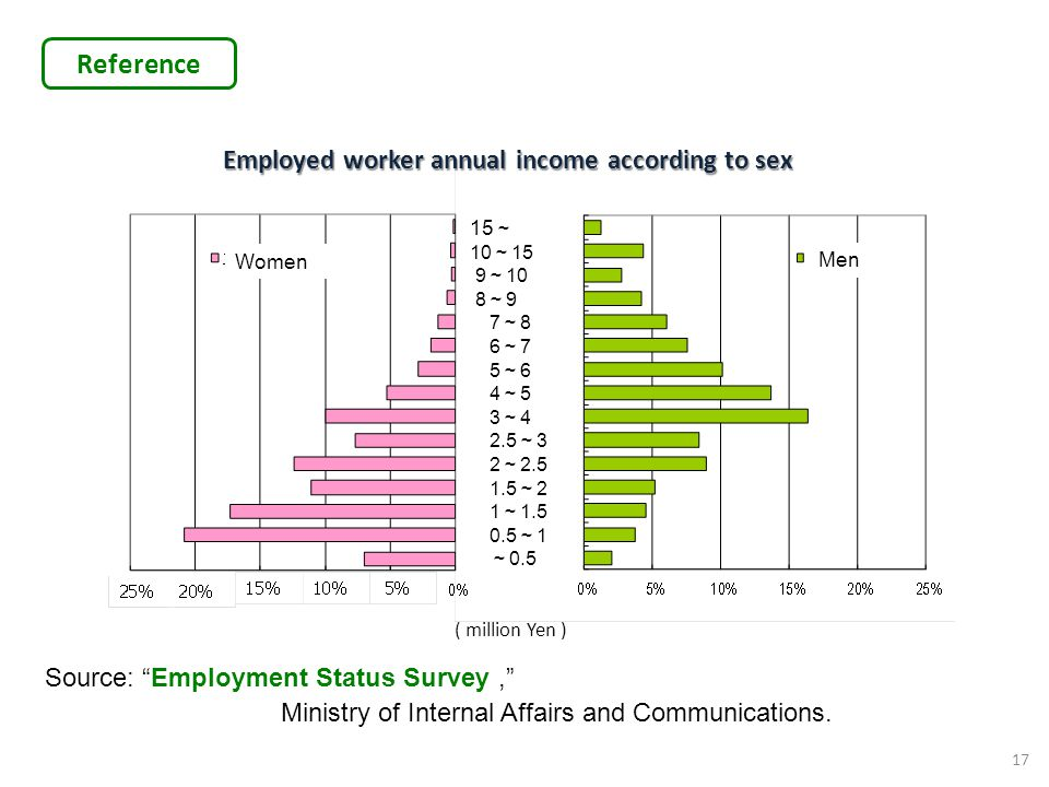 Employed worker annual income according to sex