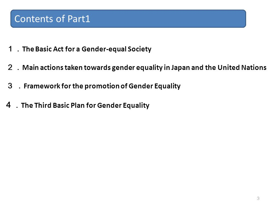 Contents of Part1 4 .The Third Basic Plan for Gender Equality