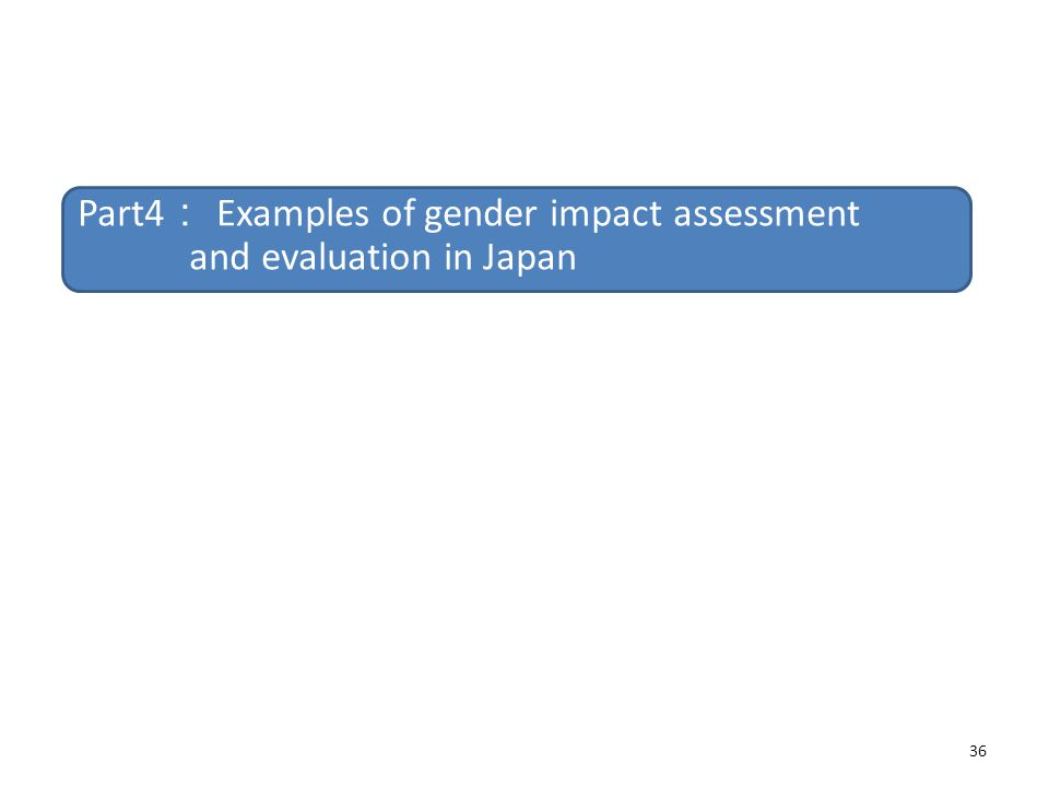 Part4: Examples of gender impact assessment