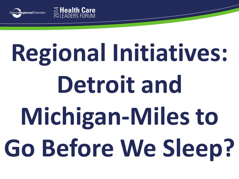 Regional Initiatives: Detroit and Michigan-Miles to Go Before We Sleep