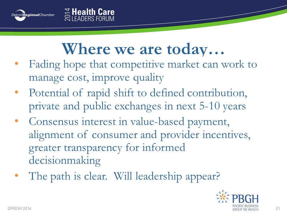 Where we are today… Fading hope that competitive market can work to manage cost, improve quality.