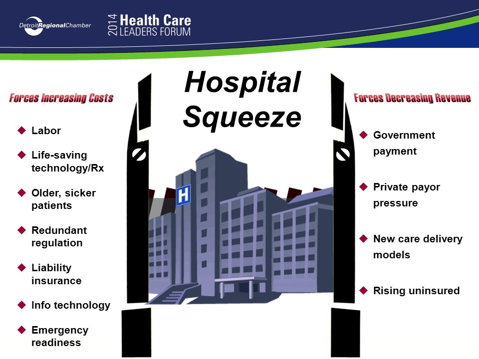 Hospital Squeeze Labor Government payment Life-saving technology/Rx