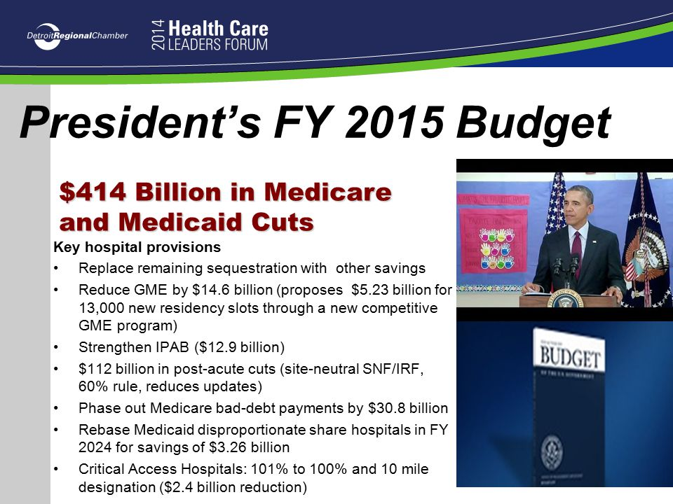 President's FY 2015 Budget $414 Billion in Medicare and Medicaid Cuts