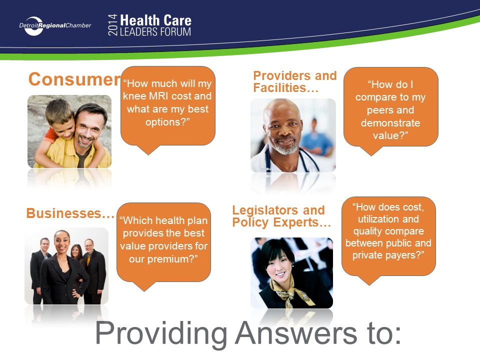 Providing Answers to: Consumers… Businesses… Providers and Facilities…