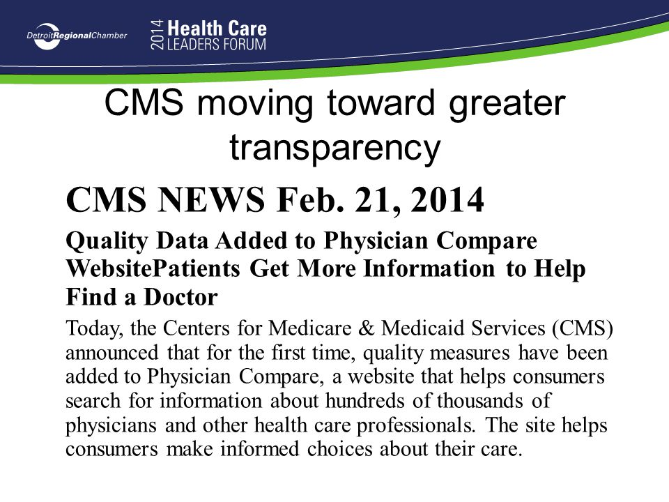 CMS moving toward greater transparency