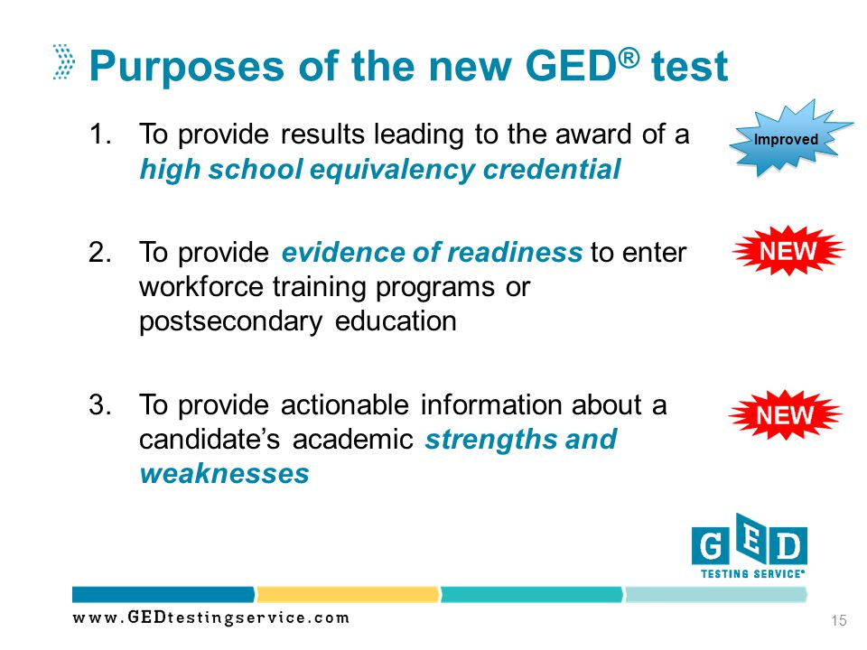 Purposes of the new GED® test