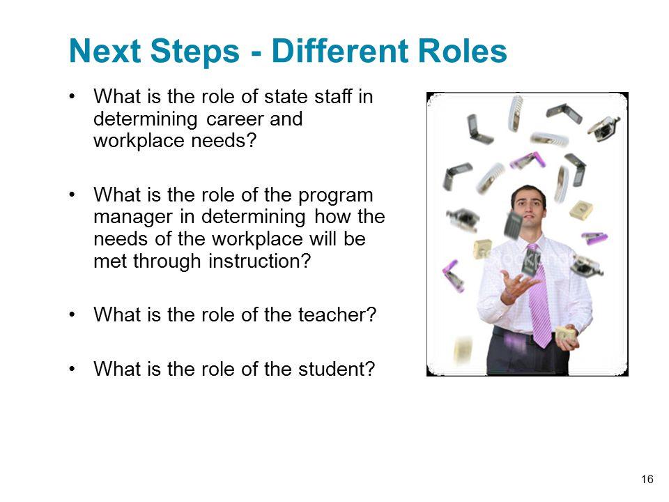 Next Steps - Different Roles