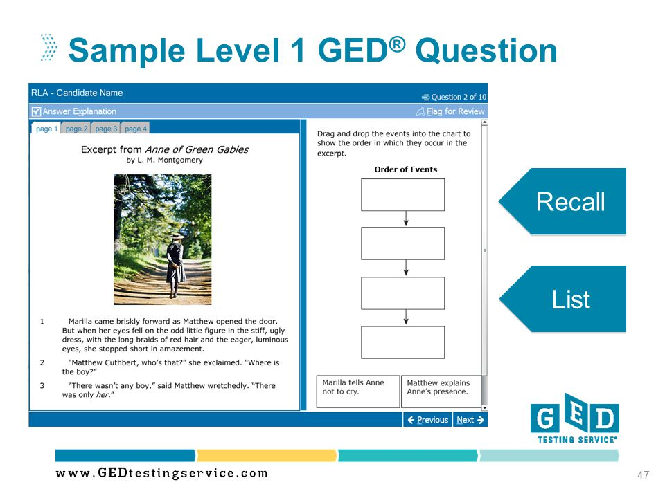 Sample Level 1 GED® Question