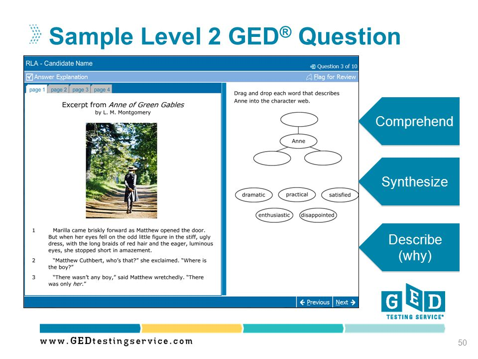 Sample Level 2 GED® Question
