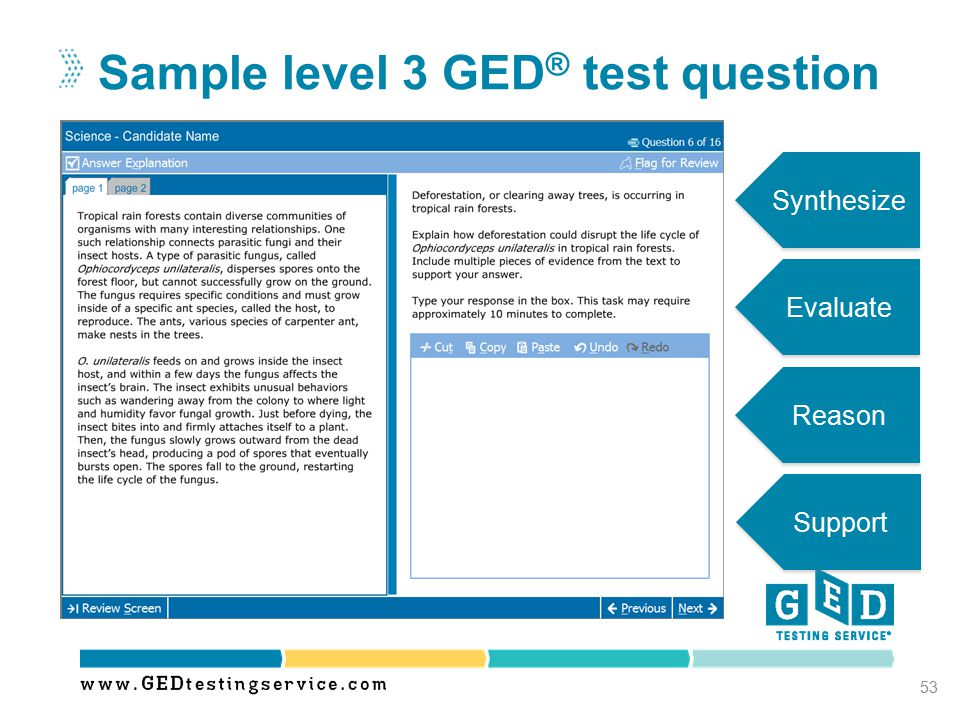 Sample level 3 GED® test question