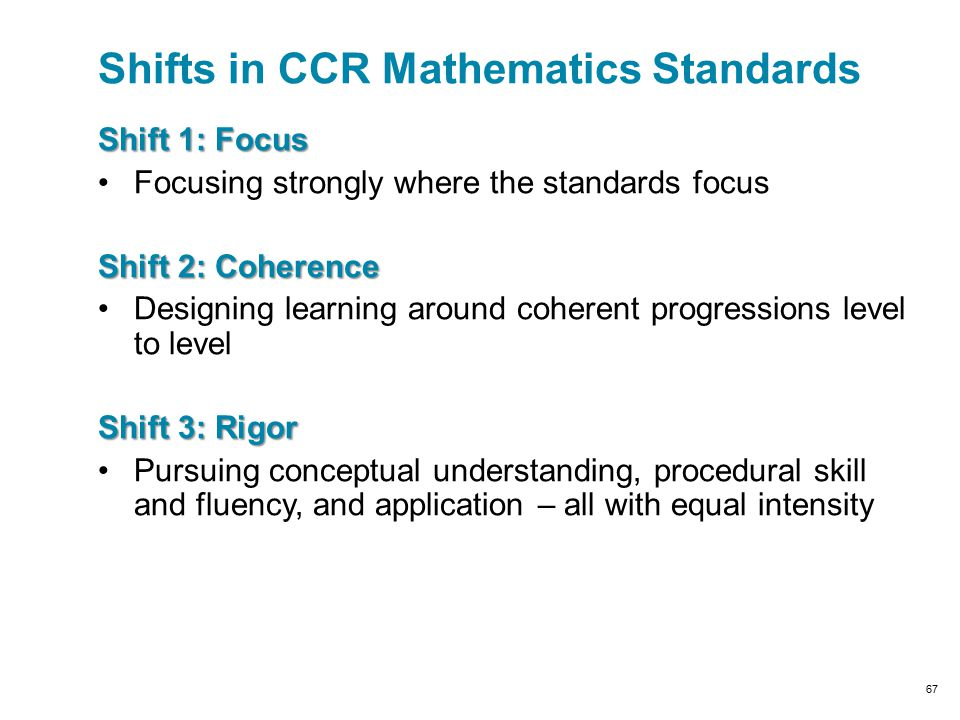 Shifts in CCR Mathematics Standards