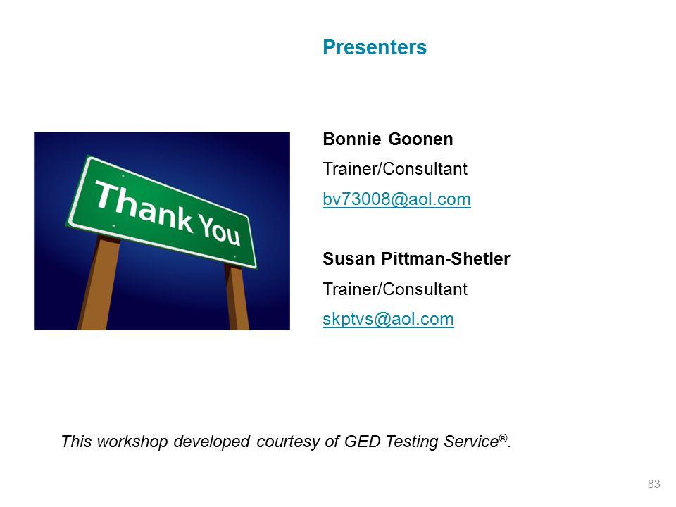 Presenters Bonnie Goonen Trainer/Consultant bv73008@aol.com