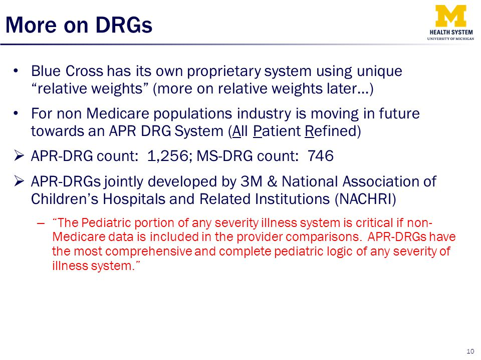 More on DRGs Blue Cross has its own proprietary system using unique relative weights (more on relative weights later…)