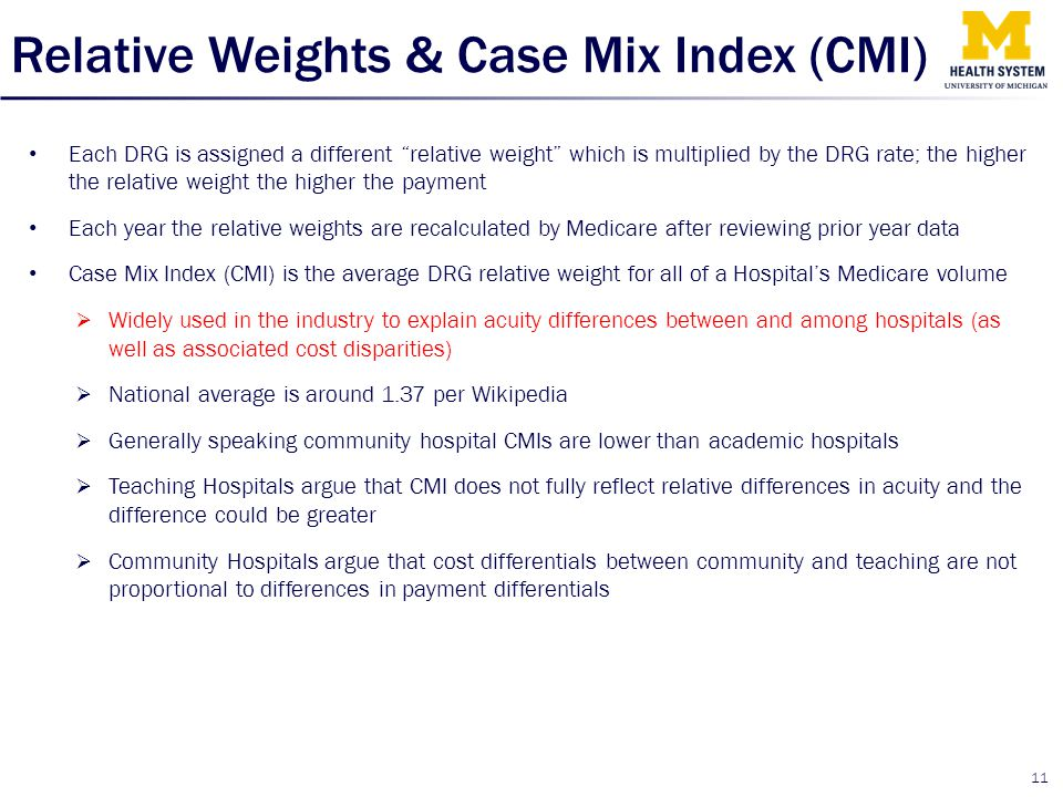 Relative Weights & Case Mix Index (CMI)