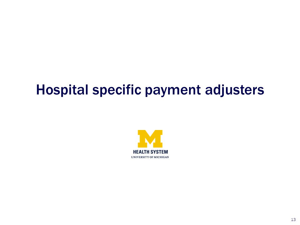 Hospital specific payment adjusters