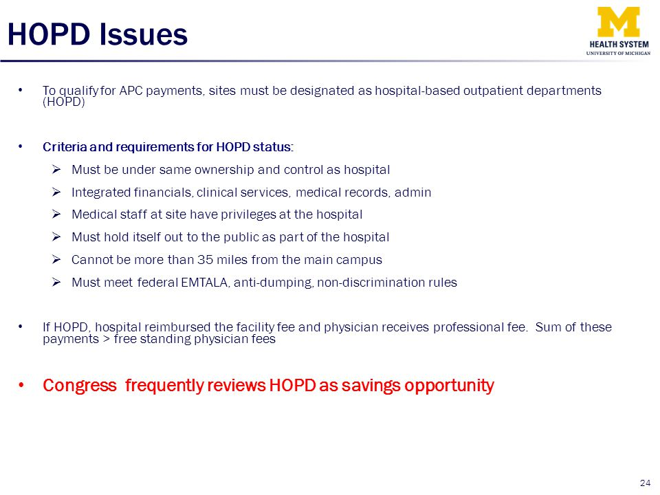 HOPD Issues Congress frequently reviews HOPD as savings opportunity