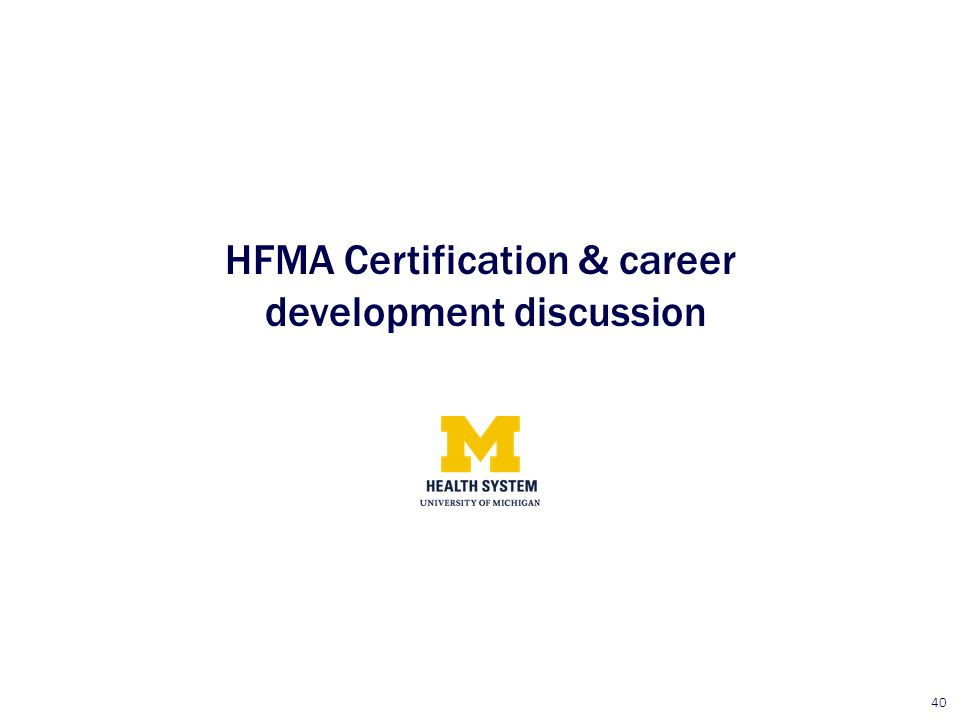 HFMA Certification & career development discussion
